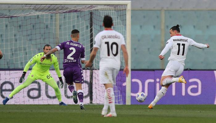 Милан не без труда справился с Фиорентиной и приблизился в таблице к Интеру