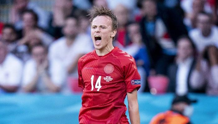 Миккель Дамсгор забил первый гол со штрафного на Евро-2020