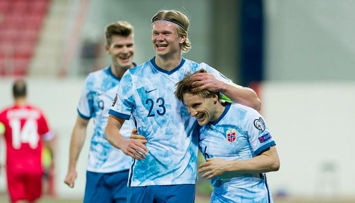 Норвегия оказалась сильнее Латвии и лидирует в группе отбора на ЧМ-2022